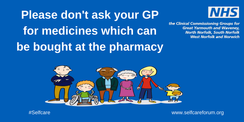 Please do not ask your GP for medications which can be bought at the pharmacy